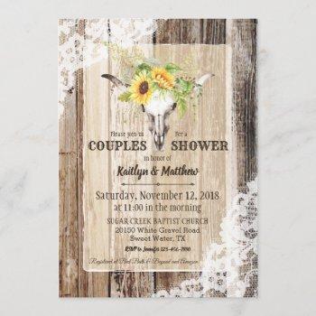 sunflower cow skull barn wood rustic bridal shower invitation
