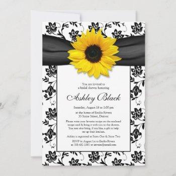 sunflower damask bridal shower invitation
