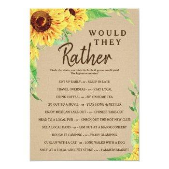 sunflower double sided bridal shower game invitation