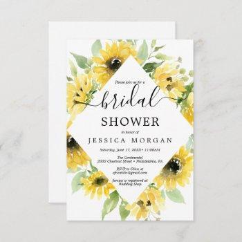 sunflower garden bridal shower invitation card