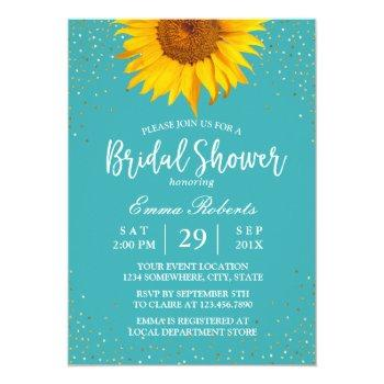 sunflower gold confetti turquoise bridal shower invitation