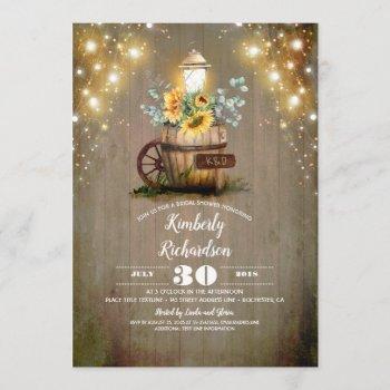 sunflower lantern rustic floral fall bridal shower invitation
