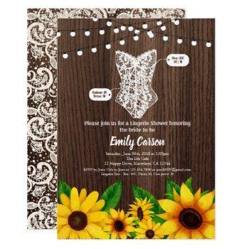 sunflower lingerie shower invitation rustic wood