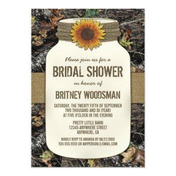 sunflower mason jar camo bridal shower invitations
