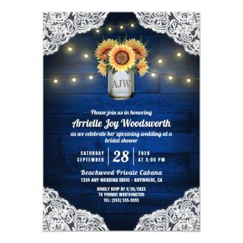 sunflower mason jar wood bridal shower invitations