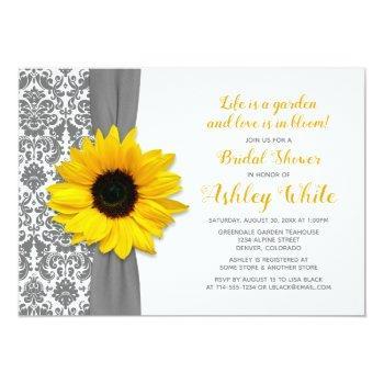 sunflower pewter grey damask bridal shower invite