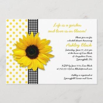 sunflower polka dot gingham bridal shower invite