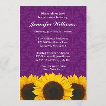 sunflower purple damask bridal shower invitation