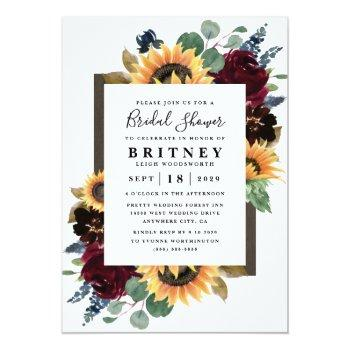 Small Sunflower Roses Burgundy Navy Blue Bridal Shower Invitation Front View