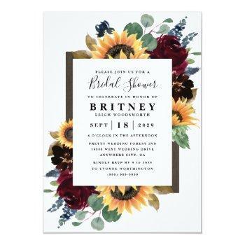 Sunflower Roses Burgundy Navy Blue Bridal Shower Invitation Front View