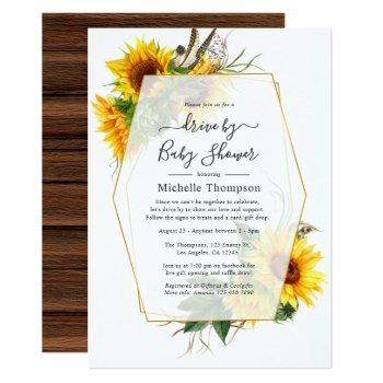 sunflower rustic geometric drive by shower invitation