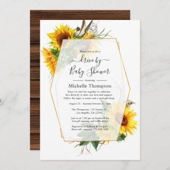 sunflower rustic geometric drive by shower invitation