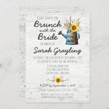 sunflower & rustic wood bridal brunch invitation