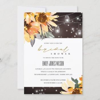 sunflower starry mason jar bridal shower invite