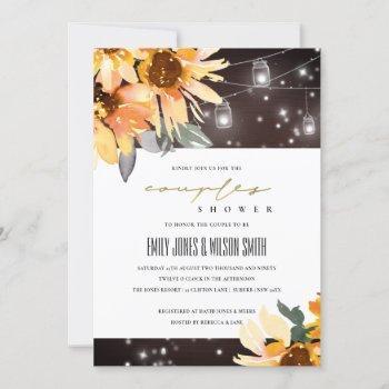 sunflower starry mason jar couples shower invite
