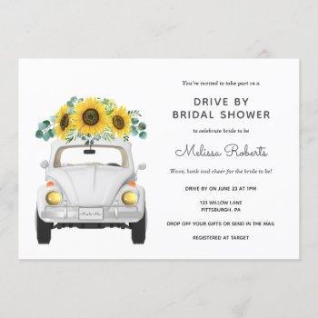 sunflower white car drive by bridal shower invitation
