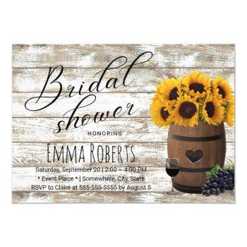 sunflower wine barrel rustic barn bridal shower invitation