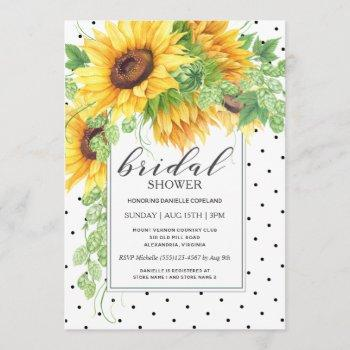 sunflowers and polka dots floral bridal shower invitation