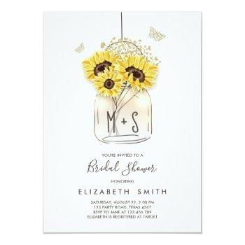 sunflowers bridal shower invite mason jar rustic