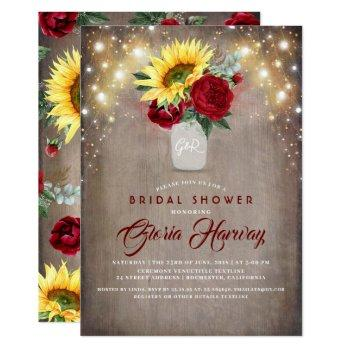 sunflowers burgundy red rustic fall bridal shower invitation