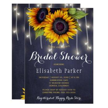 sunflowers chic rustic string lights bridal shower invitation