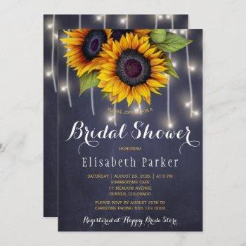 sunflowers chic rustic string lights bridal shower invitation