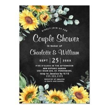 sunflowers eucalyptus chalkboard couple shower invitation