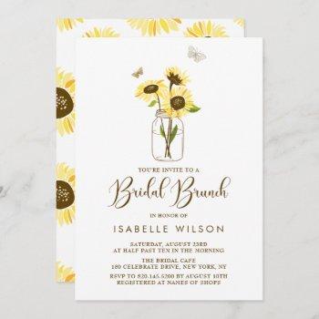 sunflowers on mason jar summer bridal brunch invitation
