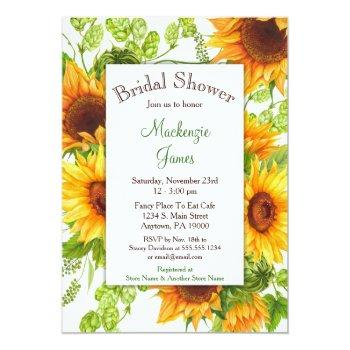 sunflowers yellow floral bridal shower invitation
