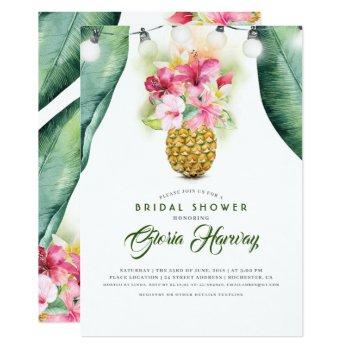 sunny pineapple floral vase beach bridal shower invitation