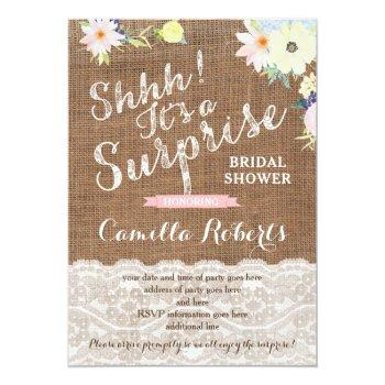 surprise bridal shower or party invitation cards