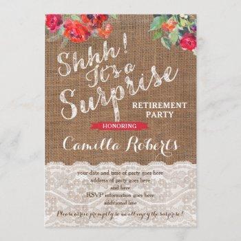 surprise retirement party invitation cards