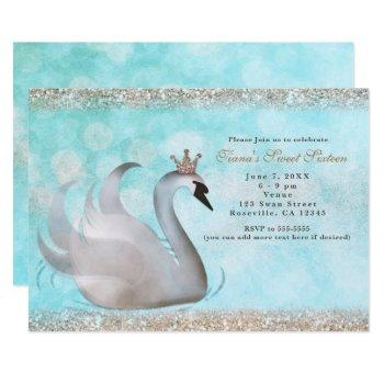 swan princess glitter birthday party invitations