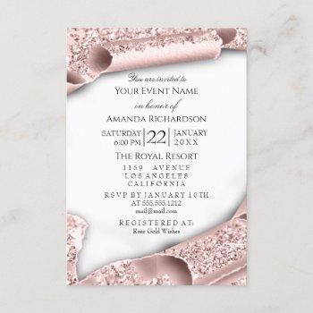 sweet 16th birthday bridal shower 3d white rose invitation