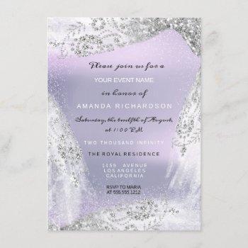 sweet 16th bridal diamond dress gray silver purple invitation