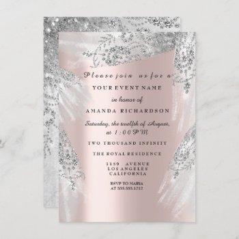 sweet 16th bridal shower royal rose silver dress invitation