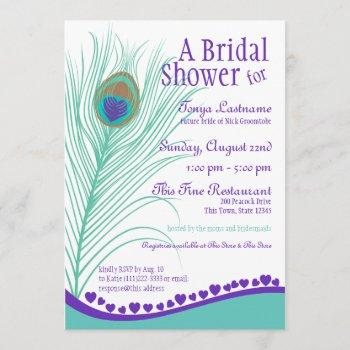 sweetheart peacock feather bridal shower invitation