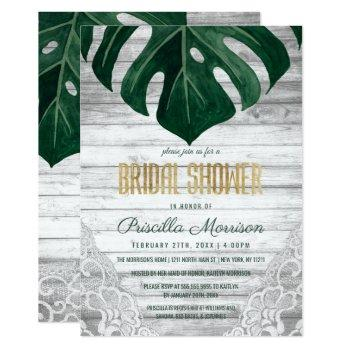 swiss cheese leaf wood lace gold bridal shower invitation