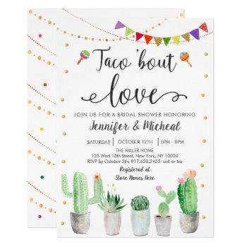 taco 'bout love fiesta cactus bridal shower invitation