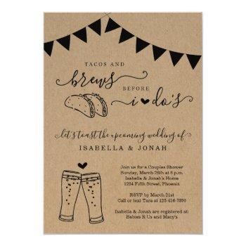 tacos & brews before i do's couples' bridal shower invitation