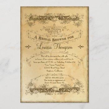 tea stained vintage wedding 2 - bridal shower invitation