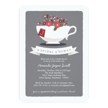 teacup coral floral monogram bridal shower invitation