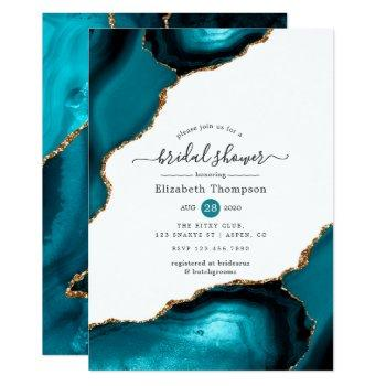 teal and gold agate bridal shower invitation