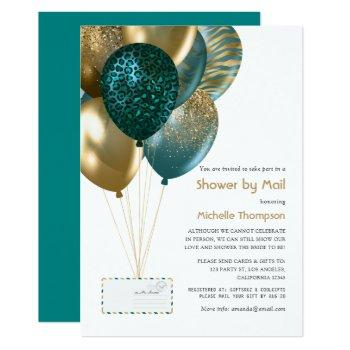 teal and gold baby or bridal shower by mail invitation