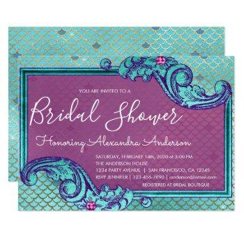 teal blue and purple mermaid scales bridal shower invitation