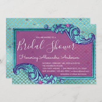 teal blue and purple mermaid scales bridal shower invitation