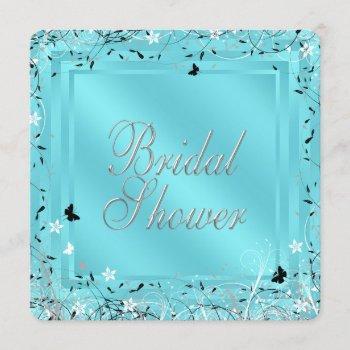 teal blue black white butterfly bridal shower invitation