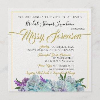 teal blue bouquet wedding suite bridal shower invitation
