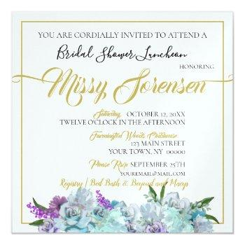 teal blue bouquet wedding suite bridal shower invitation