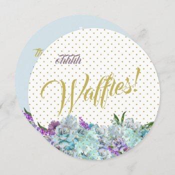 teal blue bouquet wedding suite brunch reception invitation